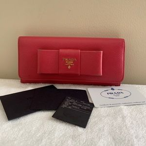 Authentic Prada Saffiano Ribbon Wallet